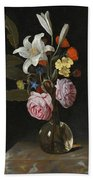 Still Life Of Roses Lilies And Other Flowers In A Glass Vase On A Marble Ledge Beach Towel