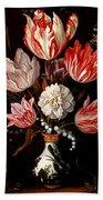 Still Life Of Variegated Tulips In A Ceramic Vase With A Wasp A Dragongly A Butterfly And A Lizard Beach Towel
