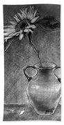 Still Life - Vase With One Sunflower Beach Towel