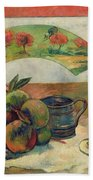 Still Life With A Fan Beach Towel by Paul Gauguin