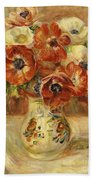 Still Life With Anemones  Beach Towel by Pierre Auguste Renoir