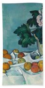Still Life With Apples And A Pot Of Primroses Beach Towel
