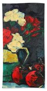 Still Life With Apples And Carnations Beach Towel by Ana Maria Edulescu