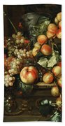 Still Life With Apples And Grapes Beach Towel