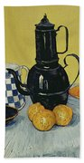 Still Life With Blue Enamel Coffeepot, Earthenware And Fruit, 1888 Beach Towel