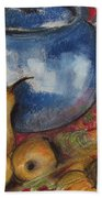 Still Life With Blue Teapot One Beach Towel