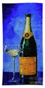 Still Life With Champagne Bottle And Glass Beach Towel