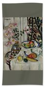 Still Life With Daisies And Fruit Beach Towel