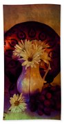 Still Life With Daisies And Grapes - Oil Painting Edition Beach Towel