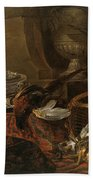 Still Life With Dead Game And A Silver Tureen On A Turkish Carpet Beach Towel