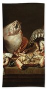 Still Life With Fishes, A Crab And Oysters Beach Towel