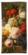 Still Life With Flowers And Fruit Beach Towel by Jan Frans van Dael