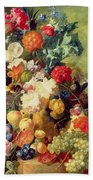 Still Life With Flowers And Fruit Beach Sheet