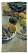 Still Life With Fruit Beach Towel by Paul Gauguin
