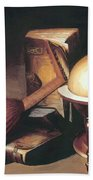 Still Life With Globe Lute And Books Beach Towel