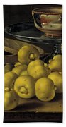 Still Life With Lemons And A Pot Of Honey Beach Towel