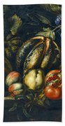 Still Life With Melons Apples Cherries Figs And Grapes On A Stone Ledge Beach Towel