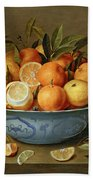 Still Life With Oranges And Lemons In A Wan-li Porcelain Dish  Beach Towel by Jacob van Hulsdonck
