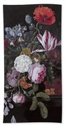 Still Life With Peonies Roses Irises Poppies And A Tulip With Butterflies A Dragonfly And Other Inse Beach Towel