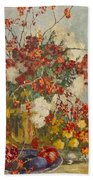 Still Life With Pink Flowers Beach Towel