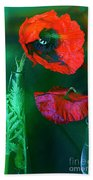 Still Life With Poppies. Beach Towel