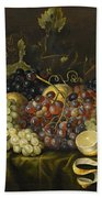 Still Life With Red Black And Green Grapes Beach Towel