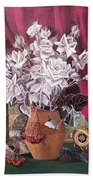 Still Life With Roses And Books Beach Towel