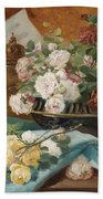 Still Life With Roses In A Cup Ornamental Object And Score Beach Towel