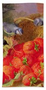 Still Life With Strawberries And Bluetits Beach Towel by Eloise Harriet Stannard