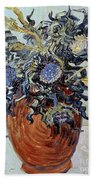 Still Life With Thistles Beach Towel by Vincent van Gogh