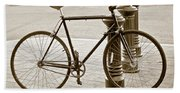 Still Life With Trek Bike In Sepia Beach Towel