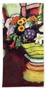 Still Life With Venison And Ostrich Pillow By August Macke Beach Towel