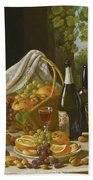 Still Life With Wine And Fruit Beach Towel