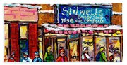 Stilwell's Candy Shop Montreal Memories Lasalle Verdun Winter City Scene Hockey Art Carole Spandau   Beach Towel
