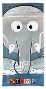 Stomp The Elephant Recycled License Plate Animal Art Beach Towel