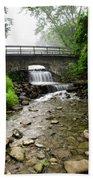 Stone Bridge Over Small Waterfall Beach Towel