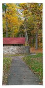 Stone Building In The Park Beach Towel