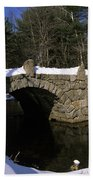 Stone Double Arched Bridge - Hillsborough New Hampshire Usa Beach Sheet