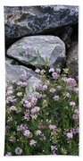 Stone Flowers Pink Beach Towel