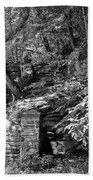 Stone Stairway Along The Wissahickon Creek In Black And White Beach Towel
