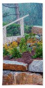 Stone Wall And Stairs Beach Towel