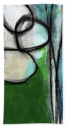 Stones- Green And Blue Abstract Beach Towel