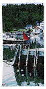 Stonington Harbor With Pier Maine Coast Beach Towel