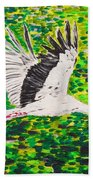 Stork In Flight Beach Towel