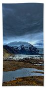 Storm Clouds Over A Glacier - Iceland Beach Towel
