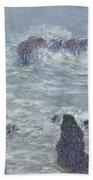 Storm Off The Coast Of Belle Ile Beach Towel