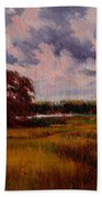 Storm Over Marshes Beach Towel