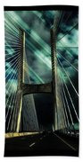 Storm Over The Bridge  Beach Towel