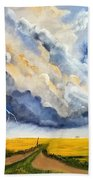 Storm Over The Country Road Beach Towel