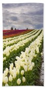 Storm Over Tulips Beach Towel by Mike  Dawson